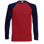 Fruit of the Loom - Long Sleeve Baseball T-Shirt - Brick...