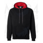 Gildan - Heavy Contrast Hooded Sweat - Black/Red - M